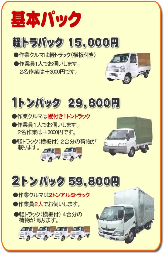 基本パック、軽トラパック15,000円●作業クルマは軽トラック(横いた付き)●作業員一人でお伺いします。2名作業は+3,000円です。1トンパック29,800円●作業クルマは幌付き1トントラック●作業員1人でお伺いします。2名作業は+3,000円です。●軽トラック(横板付)2台分の荷物が載ります。2トンパック59,800円●作業クルマは2トンアルミトラック●作業員2人でお伺いします。●軽トラック(横板付)4台分の荷物が載ります。
