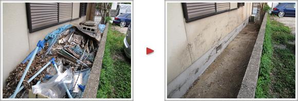 福岡市南区柳瀬の【福岡の便利屋なんでもお助け隊】 春日市泉のお客様宅の通路が粗大ゴミ、不要品で山盛りに、全て撤去、片付けました。