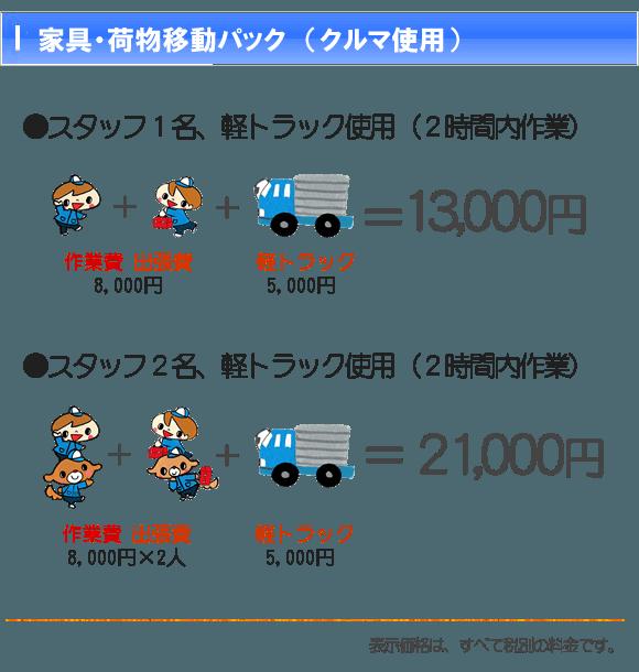 【便利屋】 暮らしなんでもお助け隊 福岡西店 家具・荷物移動パック(クルマ使用)